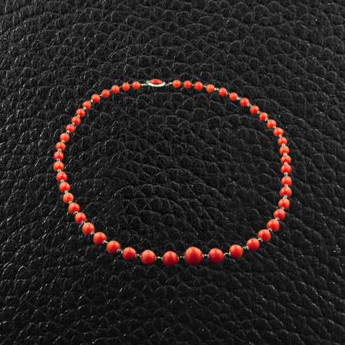 Red Coral & Black Diamond Necklace