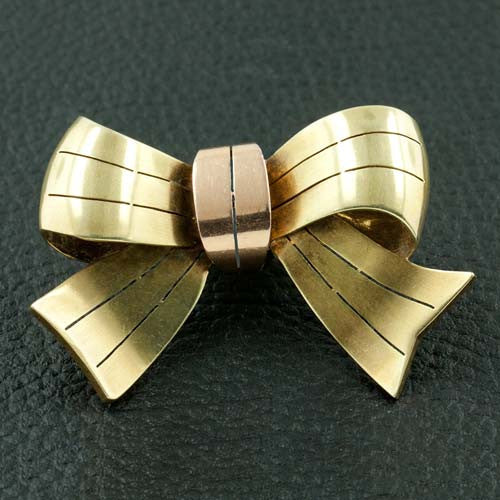 Gold Bow Estate Pin