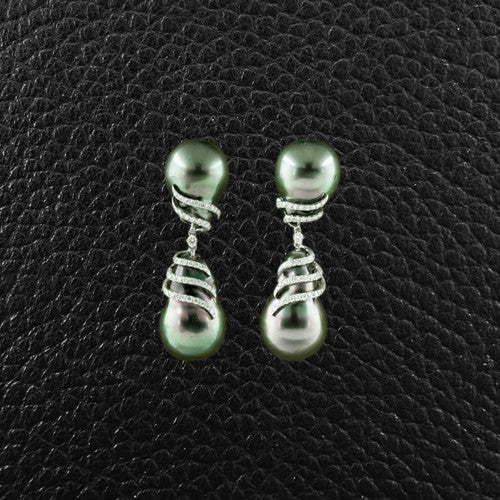 Baroque Tahitian Pearl & Diamond Dangle Earrings