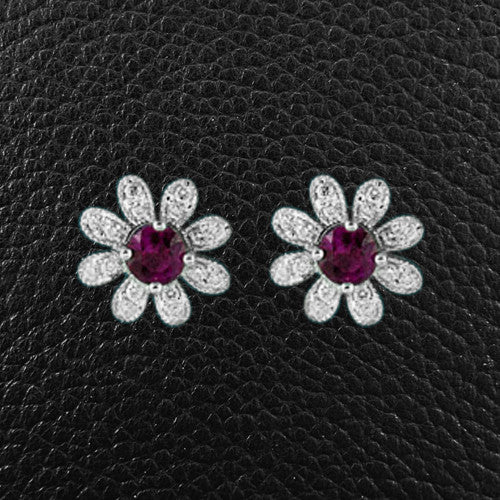Pink Sapphire & Diamond Flower Earrings