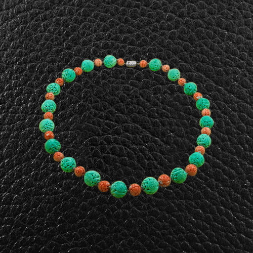 Turquoise & Coral Bead Necklace