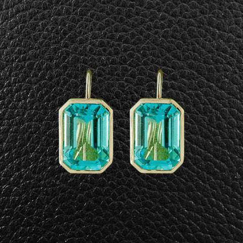 Bezel set Blue Topaz Earrings