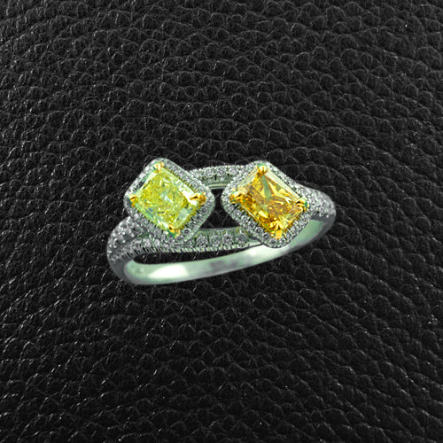 Yellow & Brown Diamond ByPass Ring