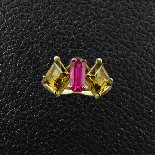 Pink Spinel & Yellow Tourmaline Ring