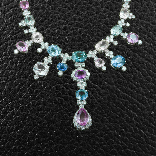 Multi-color Sapphire & Diamond Necklace & Earring Set