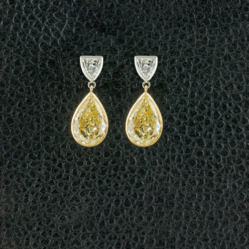 Yellow & White Diamond Drop Earrings