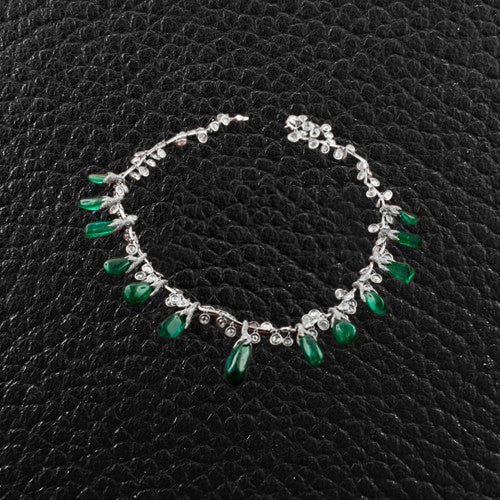 Cabochon Emerald & Diamond Necklace