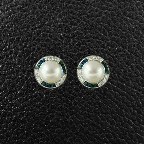 Pearl, Sapphire & Diamond Earrings