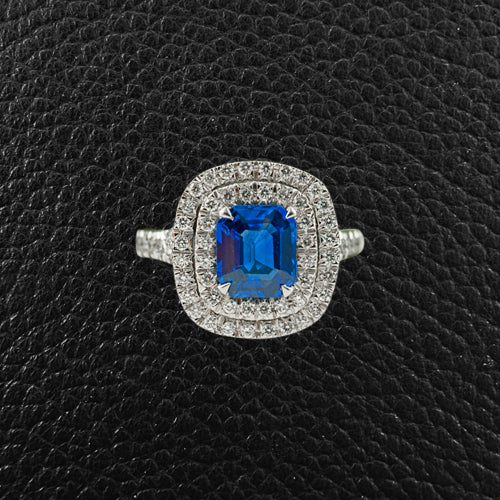 Sapphire & Diamond Double Halo Ring