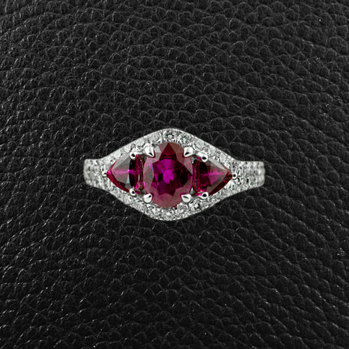 Three Ruby Ring with Diamonds
