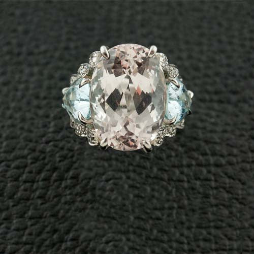 Kunzite, Blue Topaz & Diamond Ring