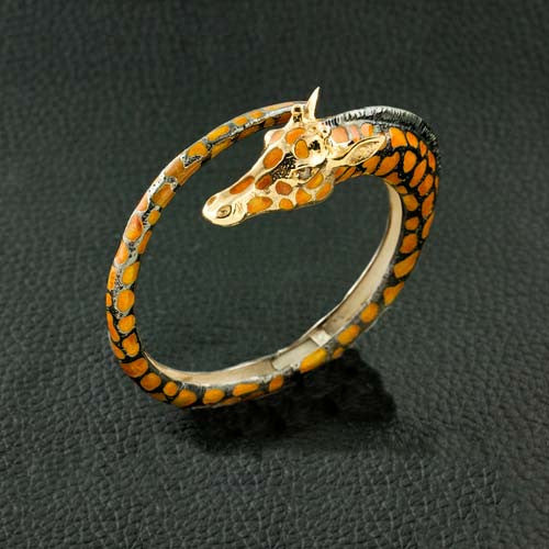 Giraffe Bangle Bracelet with Brown Diamond Eyes