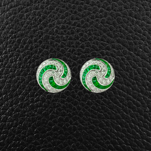 Emerald & Diamond Swirl Earrings