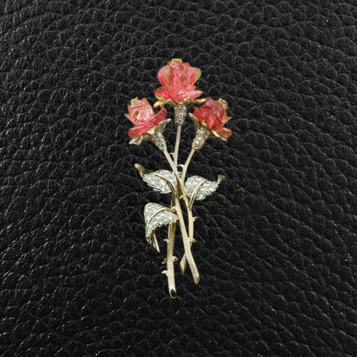 Pink Tourmaline & Diamond Flower Pin