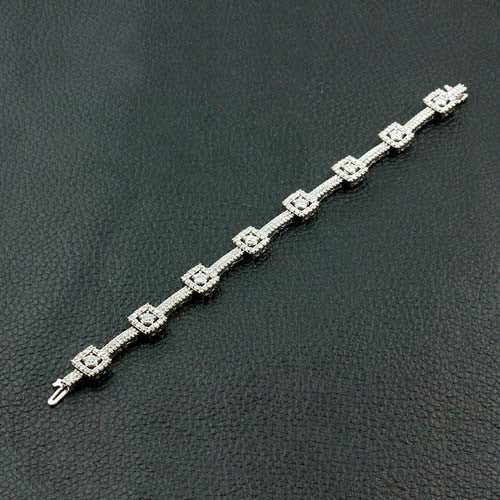 Diamond Bracelet with Square Motif Design