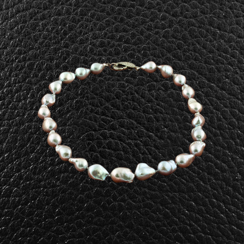 Baroque Pearl Necklace with Brown Diamond Clasp