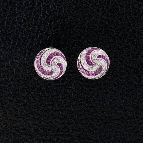 Pink Sapphire & Diamond Swirl Earrings