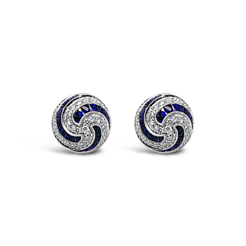 Sapphire & Diamond Swirl Earrings
