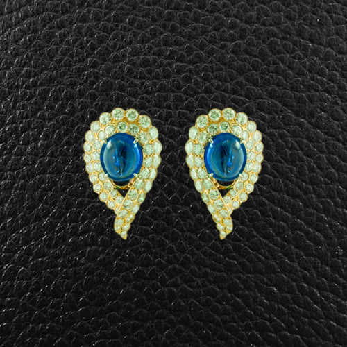 Cabochon Natural Sapphire & Diamond Van Cleef Estate Earrings