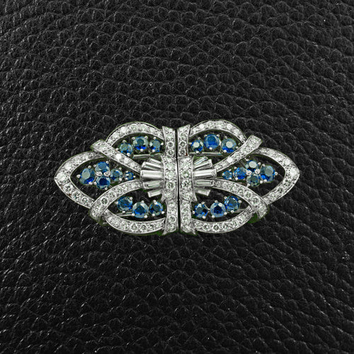 Tiffany Estate Sapphire & Diamond Pin/Clips