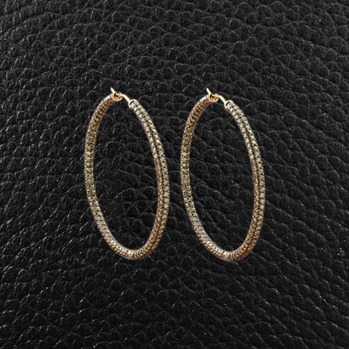 Brown Diamond Hoop Earrings
