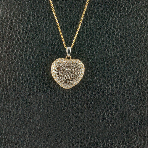 Brown & White Diamond Heart Pendant