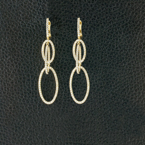 Diamond Dangle Ovals Earrings