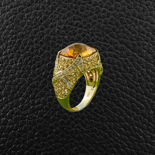 Citrine, Yellow Sapphire & White Diamond Ring