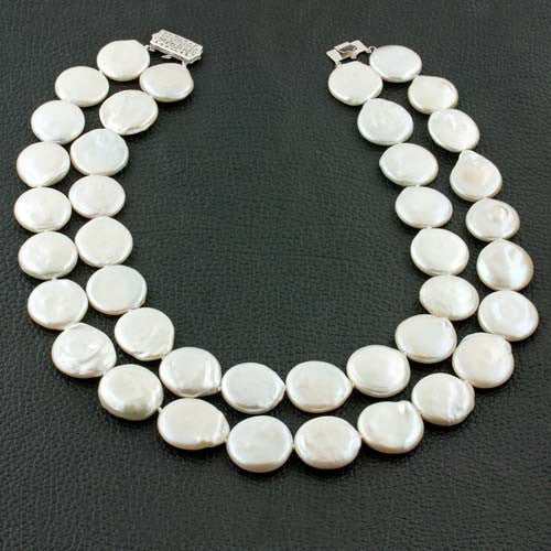 Double Strand Coin Pearl Necklace