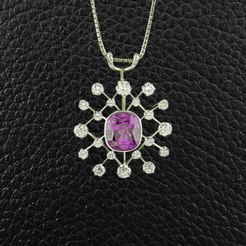 Cushion cut Pink Sapphire & Diamond Pendant/Pin