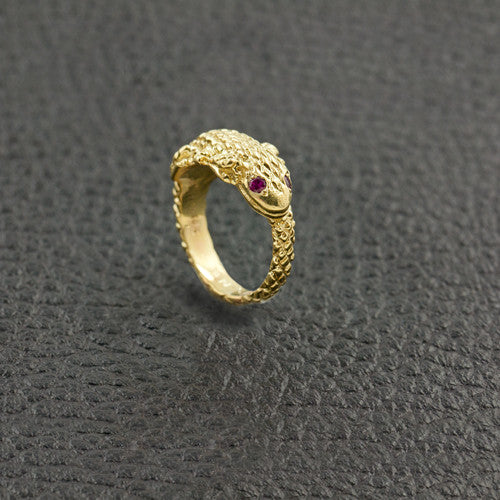 Lizard Ring with Ruby Eyes