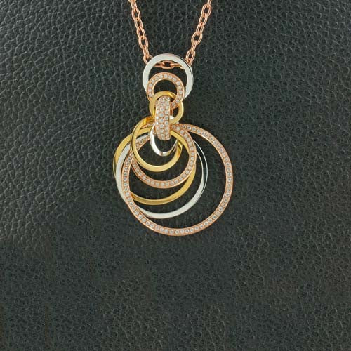 Tri-color Gold & Diamond Pendant