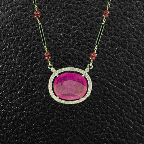 Ruby, Onyx & Diamond Necklace