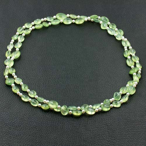 Prehnite & Pearl Necklace