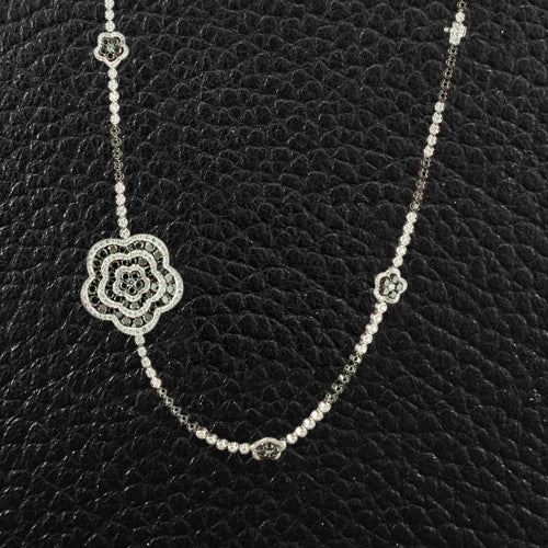 Black & White Diamond Long Necklace with Flower