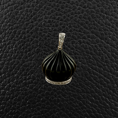 Onyx & Diamond Dome Pendant