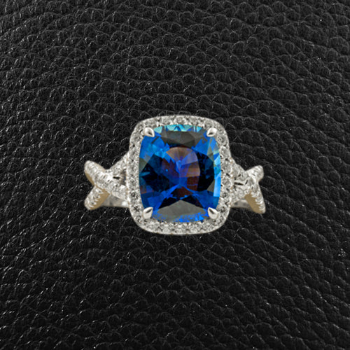 Cushion Sapphire & Diamond Ring
