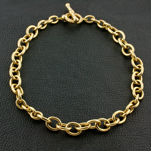 Gold Chain Estate Necklace with Diamond Toggle Clasp