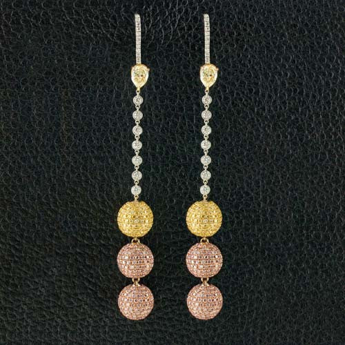 Pink, Yellow & White Dangle Ball Earrings