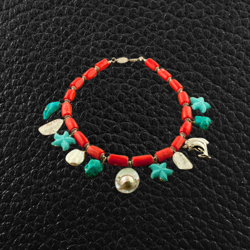 Coral, Turquoise, Crystal, Pearl & Sterling Silver