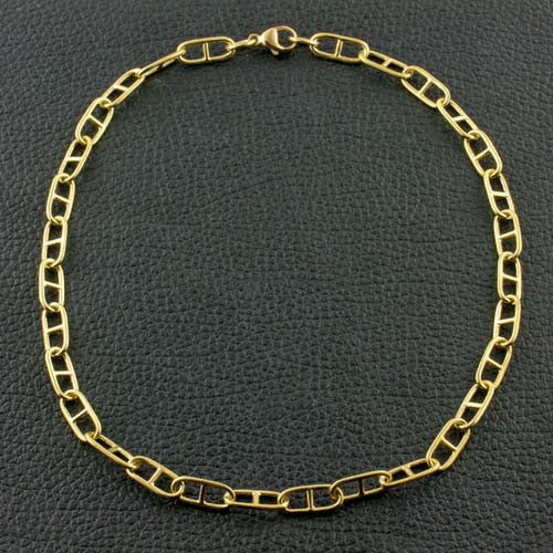 Yellow Gold Anchor Link Chain Necklace