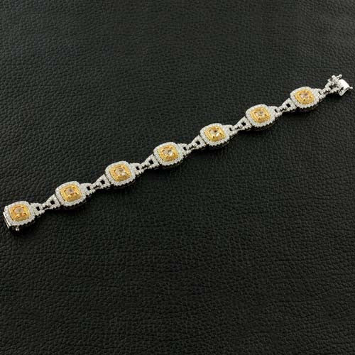 Cushion cut Yellow Diamond Bracelet