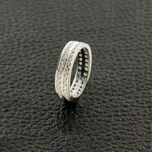 Double Channel Set Diamond Band