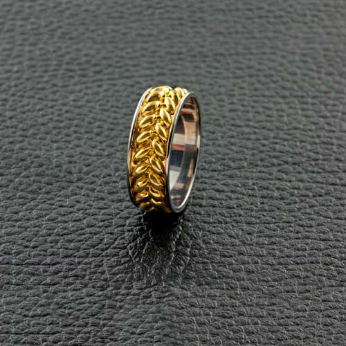 White & Yellow Gold Woven Wedding Band