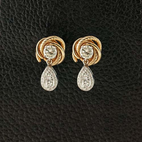 Diamond Earrings with Gold Knot Jackets
