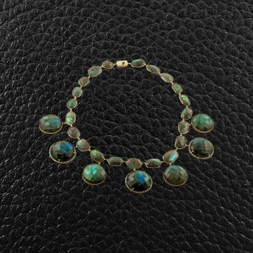 Labradorite & Diamond Disc Necklace