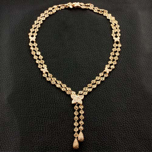 Brown & White Diamond Lariat Necklace