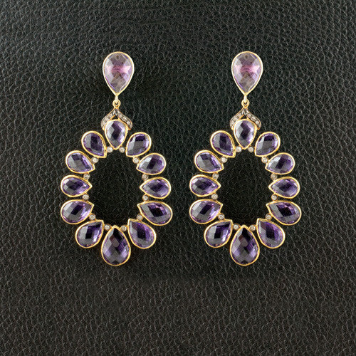 Amethyst & Diamond Dangle Earrings