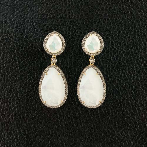 Mother of Pearl & Diamond Dangle Earrings