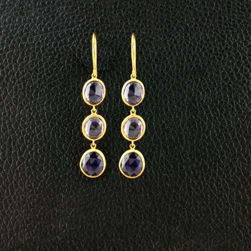 Triple Amethyst Dangle Earrings